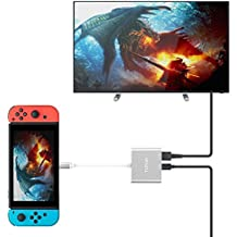 TUTUO Nintendo Switch Dock USB Tipo C a HDMI Adaptador USB Hub Convertidor Cable USB 3.0 y USB C PD (Power Delivery) Hub para Nintendo Switch, Macbook Pro 2017 2016,  iPad Pro 11 12.9 2018