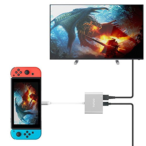TUTUO Adaptateur USB Type C vers 1080P HDMI pour Nintendo Switch, USB C PD Port d'alimentation, USB-A 3.0 Hub, HDMI Convertisseur Câble pour Macbook Pro 2017 2016, Samsung Galaxy S8 Plus