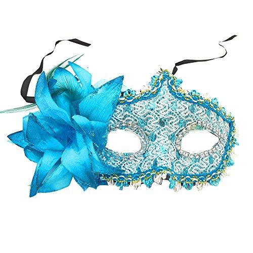 Alimitopia 1schwarz Masquerade Augenmaske Party Ball Masquerade Fancy Damen Kleid Mardi Gras Maske Halloween Kostüm Zubehör, blau - Masquerade Kleid Blau Schwarz Mit