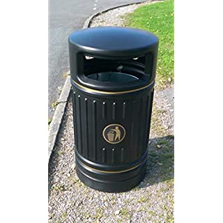 Advancedscape Heritage Ryde Large Capacity Plastic Outdoor Litter Bin - Park, School or Street Waste Bin - BLACK - AVAILABLE ON PRIME