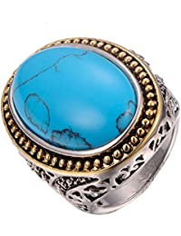 Turquoise 925 Sterling Silver Filled Ring Size M To T 1/2 F1235