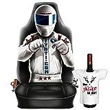 Cooler Sitzbezug, Schonbezug für dein Auto: RACE DRIVER ! mit Mini T-Shirt -der JÄGER in dir! Fake Bezug für Humorvolle