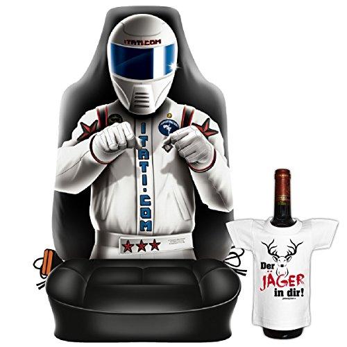 Scherzartikel - Sitzbezug für Autos Motiv Race Driver ein Frauentraum schlechthin lustige Geschenkidee Autositzbezug mit lustigem Mini T-Shirt