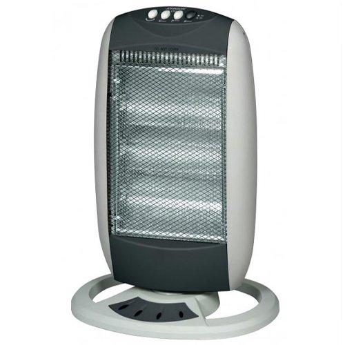 Stufa alogena 1200w con oscillante. stufe elettriche a basso consumo energetico indispensabili per riscaldare casa.