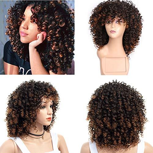 TianWlio Perücken Damen Kurze Afro Curly Mix Graue Haar Perücke mit Pony Synthetische Neue Ankunft Billige Perücken Schwarz