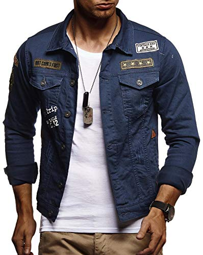 Denim-jacke (LEIF NELSON Herren Jeans-Jacke mit Knopf | Freizeitjacke Slim Fit | Das Beste in Kleidung Männer LN9565; Größe S, Blau)