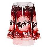 YWLINK Damen Rentier Weihnachtsmann Drucken Bluse Bell Sleeve Top T Shirt Elegant Lockerer Saum Bluse(XXXXXL,Rot)