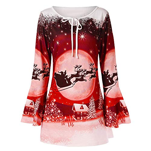 IZHH Damen Weihnachten Plus Size Shirt, Mode Damen Flare Langarm Weihnachtsmann Print T-Shirt Tops Bluse Weihnachten Trompete Ärmel mit bedruckten Oberteilen(Rot,X-Large)