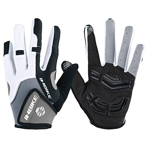 Inbike Herren Fahrradhandschuhe Mit Gel vollfinger MTB Handschuhe für das Radfahren(Grau-Lang,L)