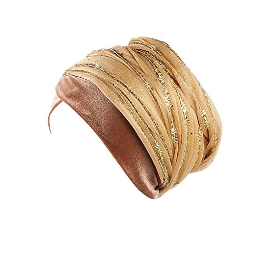 Resplend Fascinators Hut Mode Gaze Haar Kopftuch Frauen Indien Afrika Muslim Stretch Turban Hut Wrap Kappe Bandana (Gold)