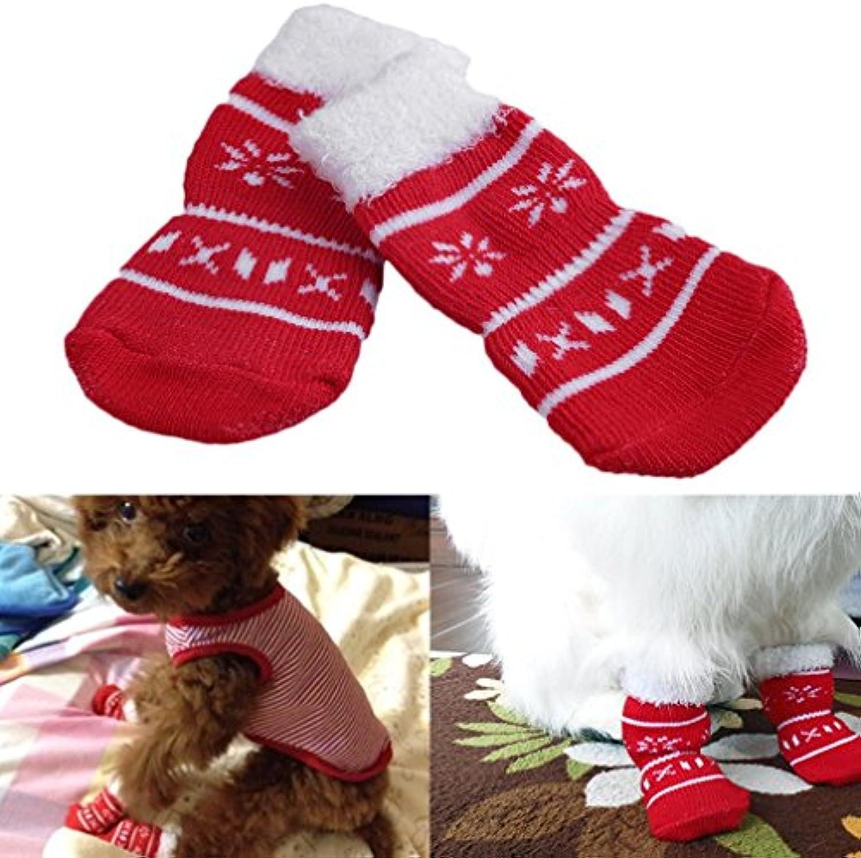 Gugutogo Cool Cute Red Puppy Pet Dog Calcetines de algodón de Navidad Warm Winter Snowflake (Color Rojo + Blanco...