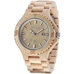 Alienwork Quartz Watch natural solid wood Wristwatch Handmade Maplewood yellow yellow UM023C-03