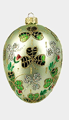 Pinnacle Peak Trading Company Green Shamrock Egg Faberge Inspired Polish Mouth Blown Glass Holiday Ornament -