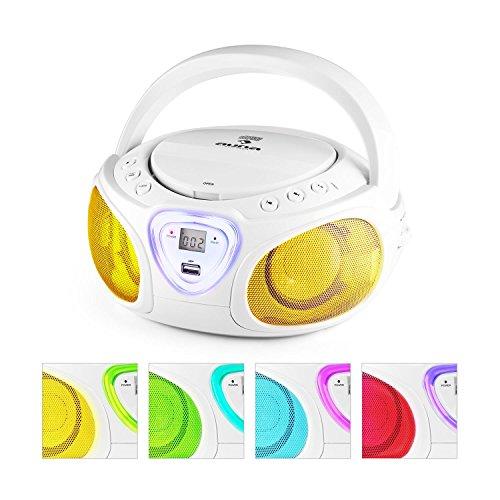 auna Roadie boombox compatta radio portatile stereo con lettore CD (dispositivo bluetooth, ingresso USB MP3, radio OM/OUC, effetti LED) - bianco