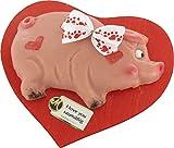 Marzipan Schwein auf einem Herzbrett 300g / idel zum Muttertag