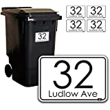 Personalised Printed Wheelie Bin Number Stickers with number and road Name - A6 Vinyl Waste Container Decals - set of 4