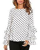 StyleDome Mujer Camiseta Mangas Largas Volantes Lunares Blusa Elegante Noche Casual Oficina (EU 44, Blanco)