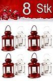 MAADES Weihnachtslaterne, 8er SET, Windlicht Laterne für Weihnachten, kleine Laternen für draußen, aus Metall und Glas, Windlichter als Weihnachtsdeko, 13cm hoch, als Beleuchtung oder Dekoration, für Kerzen & Teelichter, in 2 Farben