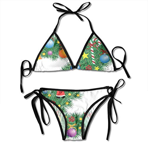 Jiger Adjustable Bikini Set Halter Ladies Swimming Costume, Traditional Themed Font Design Z with Colorful Ornaments Christmas Santa Claus,Halter Beach Bathing Swimwear