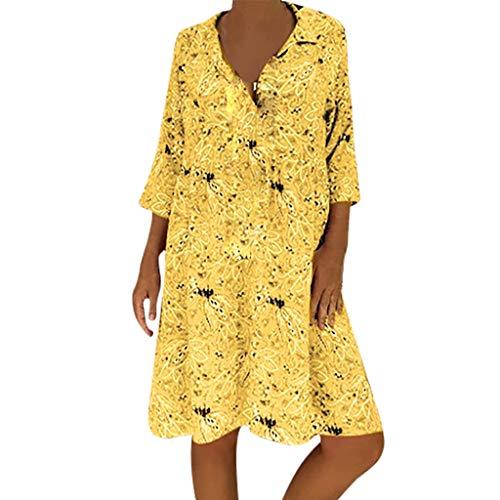 Junjie Plus Size Damenmode 3/4 Ärmel Tiefem V-Ausschnitt Blumen elegant Basic große größe Baumwolle Bedruckte Kleider Lila, Rot, Gelb, Navy, Blau