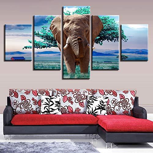CNCN ImágenesLienzo Modular Impresiones en HD Cartel 5 Unidades Animales Elefantes Árboles...