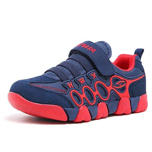 Jungen Running Sneakers Hook & Loop Mädchen leichte Sportart Schuhe Turnschuhe für Unisex-Kinder(Blau/Rot)