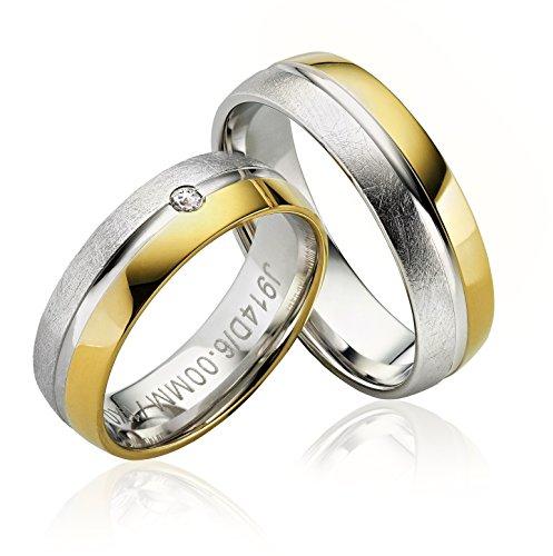 2x Eheringe Partnerringe Trauringe Verlobungsringe Freundschaftsringe in 585 Gold *mit Gravur und 1 Stein*
