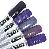 Color Gel 5er Set (je 5ml): Special Lila - Kollektion - Gel Lila, Gel Lilaglitter, Gel Purple