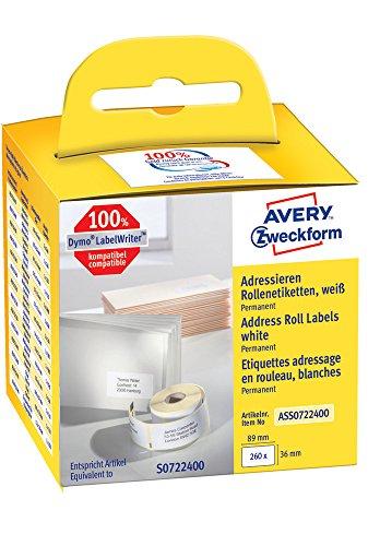 Dymo Label-drucker Wireless (Avery Zweckform ASS0722400 Rollenetiketten (Etiketten für Dymo Drucker, 89 x 36 mm, Adressaufkleber) 260 Stück weiß)