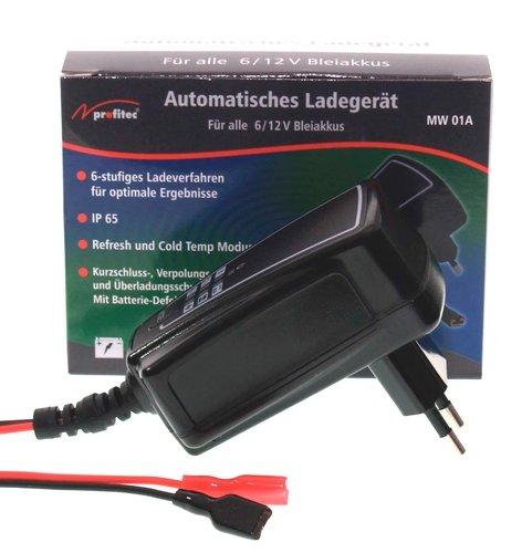 Profitec MW 01 A - Caricatore per batterie al piombo 6 o 12 V (rilevamento automatico) e corrente di carica 1000 mA