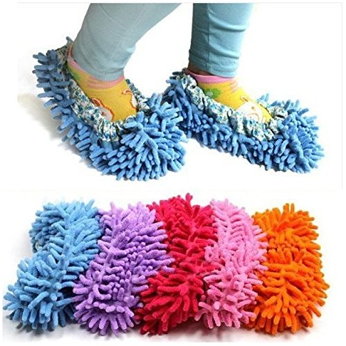 Cute Dust Mop Slippers Shoes Floor Cleaner Clean Easy Bathroom Office Kitchen(Sky Blue)