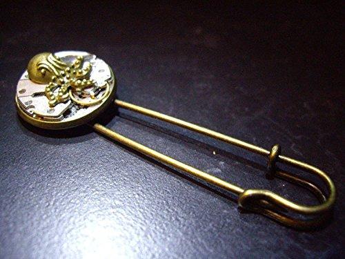 Mens Steampunk Uhrwerk mit Messing Octopus Schal Pin Sicherheitsnadel Kilt Pin -