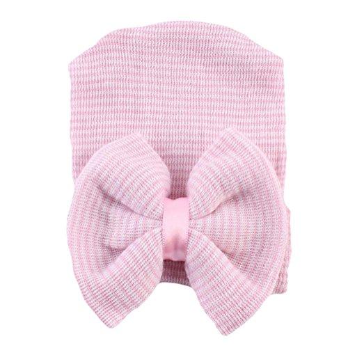 Drawihi Europa und die Vereinigten Staaten Baby Hut großen Bogen stricken Sätze von Kinder Hut Herbst und Winter niedlichen Mütze (Rosa) (Staat Stricken)