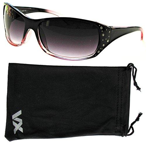 Gafas de sol deporte diseño moda Rhinestones gafas voz de la mujer – Marco negro y rosa – Lente Humo