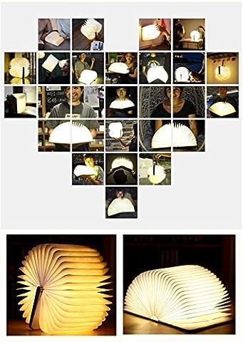 LED Buch Lampe Hölzernes faltende Buch-Lampe,Hölzernes faltendes LED-Nachtlicht-Buch,LED-Falten-Buch-Lampe, Magnetische hölzerne Lampe, USB wiederaufladbar Passend für Dekorative / Stimmung / Nacht Lichter (Warm-weiß)