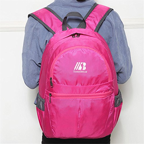 der rucksack portable multifunktions - kleine faltbare großen raum freizeit outdoor - sport auf reisen mit tasche wandern business - studenten packen 5colors H43 x L30 x T16 CM rose red