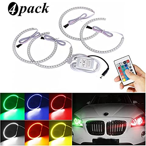 AMBOTHER 4 x Angel Eye Halo Ring Auto Xenon Lampe LED Standlicht Ringe Scheinwerfer Für BMW E36 E38 E39 E46 M3 RVB/RGB Leuchten Neon mit Fernbedienung