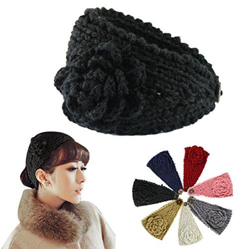 Hair Accessories, Kolylong® Mode FéMinine Crochet Knit Bandeau Serre-TêTe Fleurs Winter Warmer Oreille Couvre De La TêTe (Noir)
