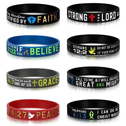 Finrezio 8 Stücke Power of Faith Bibel Vers Armbänder Schwarz Silikon Armbänder für Männer Frauen Christian Religiöse Schmuck Geschenke