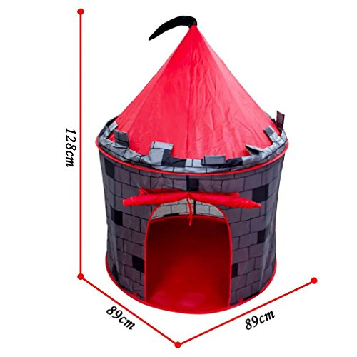 Tienda pop-up con diseño de castillo rojo