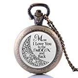"Damen Quarz-Taschenuhr mit Anhänger ""Mother I Love You to The Moon and Back"", mittelgroß"