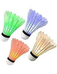 Ohuhu® LED Volant de Badminton Nuit Noire Lueur Birdies Eclairage pour les Activités Sportives Intérieur et Extérieur (4 pack)