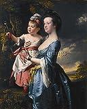 WRIGHT PORTRAIT SARAH CARVER HER DAUGHTER SARAH BILDER BILD OLGEMALDE MALEREI 120x100cm HOCHWERTIGER