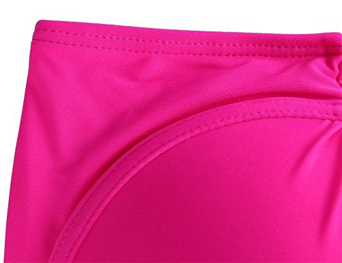 Frauen Plus Size Retro hohe Taille Fringe Bikini Neckholder Push Up Badeanzug Quaste Bademode Rose