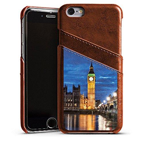 Apple iPhone SE Housse Outdoor Étui militaire Coque Londres Angleterre Big Ben Étui en cuir marron