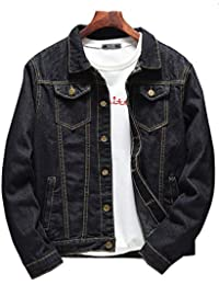 Mengmiao Giubbotto Giacca Uomo Denim Vintage Manica Lunga Jeans Cappotto 084a047a553