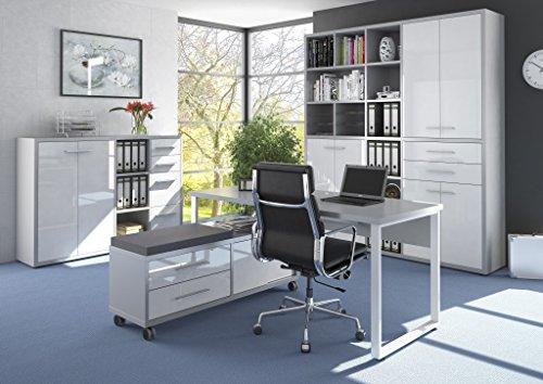 Komplettes Arbeitszimmer - Büromöbel Komplett Set Modell 2017 MAJA SET+ in Platingrau / Weißglas (SET 6)
