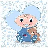 YongFoto 3x3m Vinyl Foto Hintergrund Nettes Baby Blue Baby Words Wallpaper Herzform Teddybär Fotografie Hintergrund für Photo Booth Baby Party Banner Fotostudio Requisiten