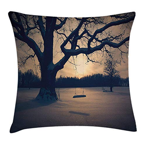 Tree of Life Throw Pillow Cushion Cover, Majestic Tree in The Garden with A Swing Nostalgic Dramatic Winter Scenery, Decorative Square Accent Pillow Case, 18 X 18 inches, Tan Blue Grey -