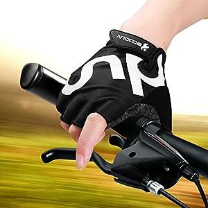 Guantes de Bicicleta Medio dedo negro SBR acolchado Absorción de impactos Adecuado Para Todos Los Deportes M
